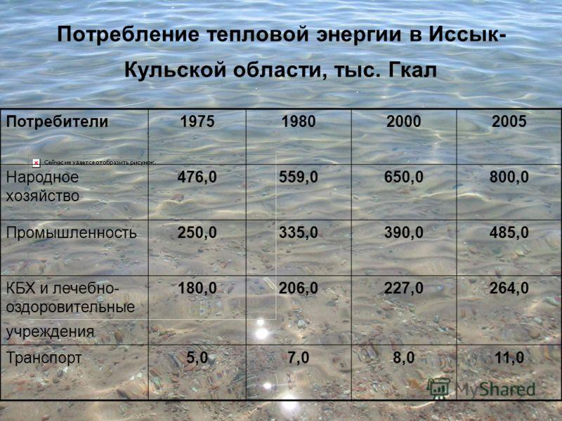Потребление тепловой энергии в Иссык- Кульской области, тыс. Гкал Потребители1975198020002005 Народное хозяйство 476,0559,0650,0800,0 Промышленность250,0335,0390,0485,0 КБХ и лечебно- оздоровительные учреждения 180,0206,0227,0264,0 Транспорт5,07,08,0