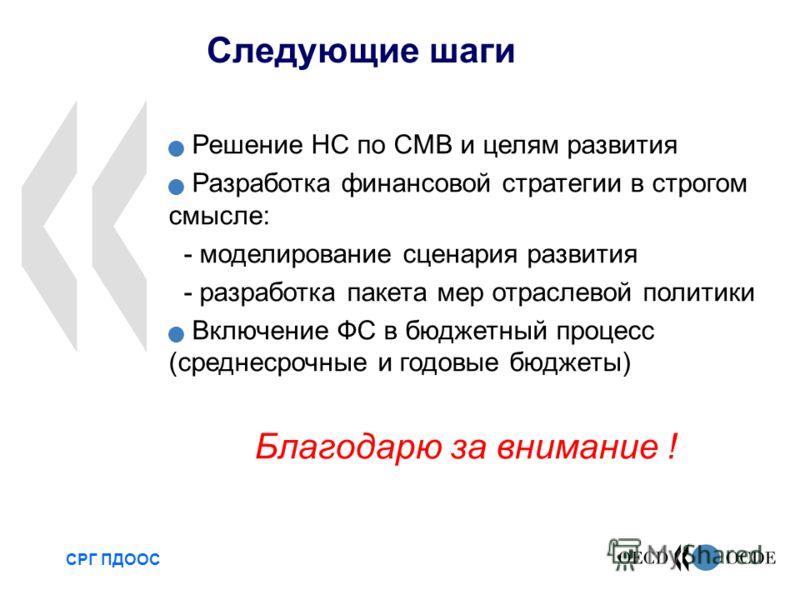 Следующие шаги СРГ ПДООС Решение НС по СМВ и целям развития Разработка финансовой стратегии в строгом смысле: - моделирование сценария развития - разработка пакета мер отраслевой политики Включение ФС в бюджетный процесс (среднесрочные и годовые бюдж