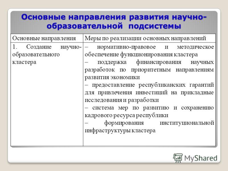 Основные направления развития научно- образовательной подсистемы Основные направленияМеры по реализации основных направлений 1. Создание научно- образовательного кластера – нормативно-правовое и методическое обеспечение функционирования кластера – по