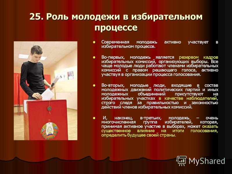 25. Роль молодежи в избирательном процессе Современная молодежь активно участвует в избирательном процессе. Современная молодежь активно участвует в избирательном процессе. Во-первых, молодежь является резервом кадров избирательных комиссий, организу