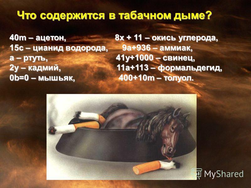40m – ацетон, 8х + 11 – окись углерода, 15с – цианид водорода, 9a+936 – аммиак, а – ртуть, 41у+1000 – свинец, 2у – кадмий, 11а+113 – формальдегид, 0b=0 – мышьяк, 400+10m – толуол. Что содержится в табачном дыме?