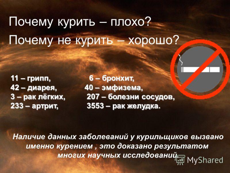 Почему курить – плохо? Почему не курить – хорошо? 11 – грипп, 6 – бронхит, 42 – диарея, 40 – эмфизема, 3 – рак лёгких, 207 – болезни сосудов, 233 – артрит, 3553 – рак желудка. Наличие данных заболеваний у курильщиков вызвано именно курением, это дока