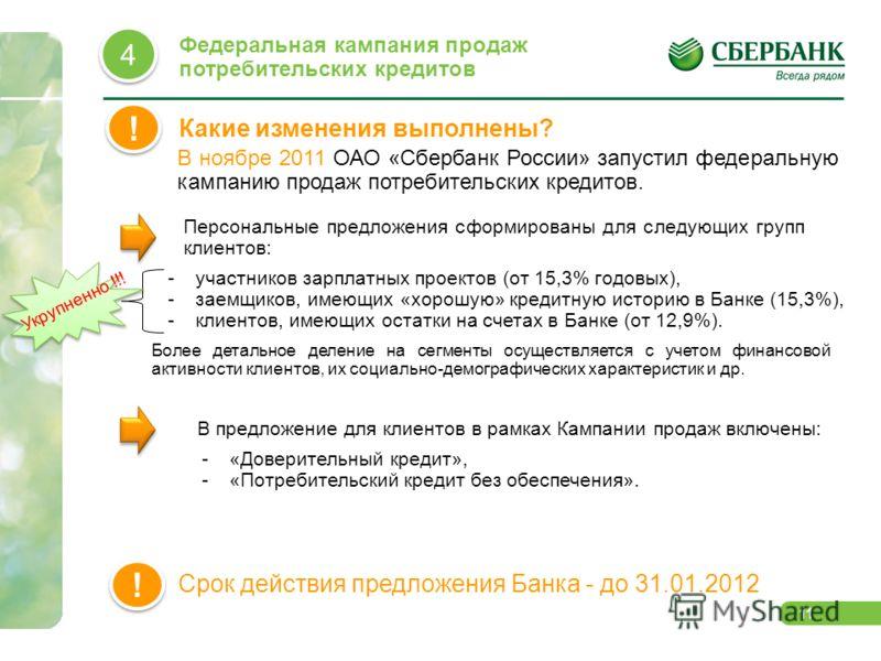 11 Какие изменения выполнены? ! ! В ноябре 2011 ОАО «Сбербанк России» запустил федеральную кампанию продаж потребительских кредитов. Персональные предложения сформированы для следующих групп клиентов: -участников зарплатных проектов (от 15,3% годовых
