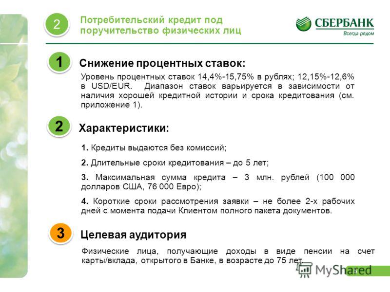 5 Снижение процентных ставок: 1 1 Характеристики: 2 2 Уровень процентных ставок 14,4%-15,75% в рублях; 12,15%-12,6% в USD/EUR. Диапазон ставок варьируется в зависимости от наличия хорошей кредитной истории и срока кредитования (см. приложение 1). 1.