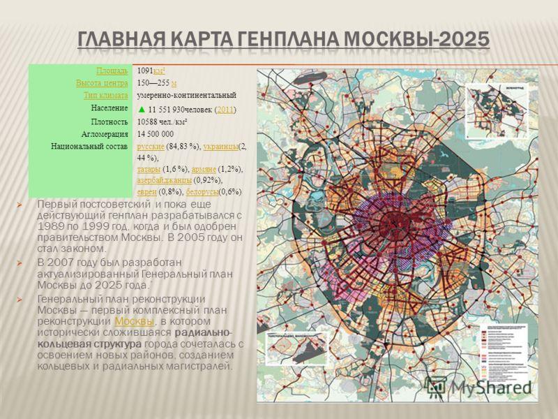 Первый постсоветский и пока еще действующий генплан разрабатывался с 1989 по 1999 год, когда и был одобрен правительством Москвы. В 2005 году он стал законом. В 2007 году был разработан актуализированный Генеральный план Москвы до 2025 года. Генераль