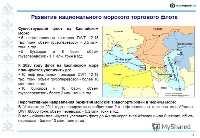 15 Развитие национального морского торгового флота Существующий флот на Каспийском море: 6 нефтеналивных танкеров DWT 12-13 тыс. тонн, объем грузоперевозок – 6,5 млн. тонн в год 5 буксиров и 8 барж, объем грузоперевозок - 1,1 млн. тонн в год К 2020 г