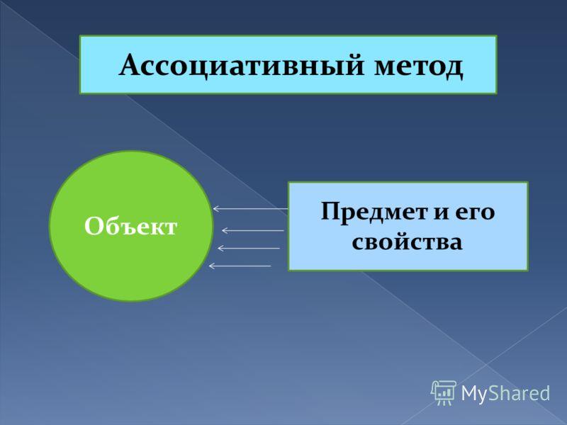 Ассоциативный метод Объект Предмет и его свойства