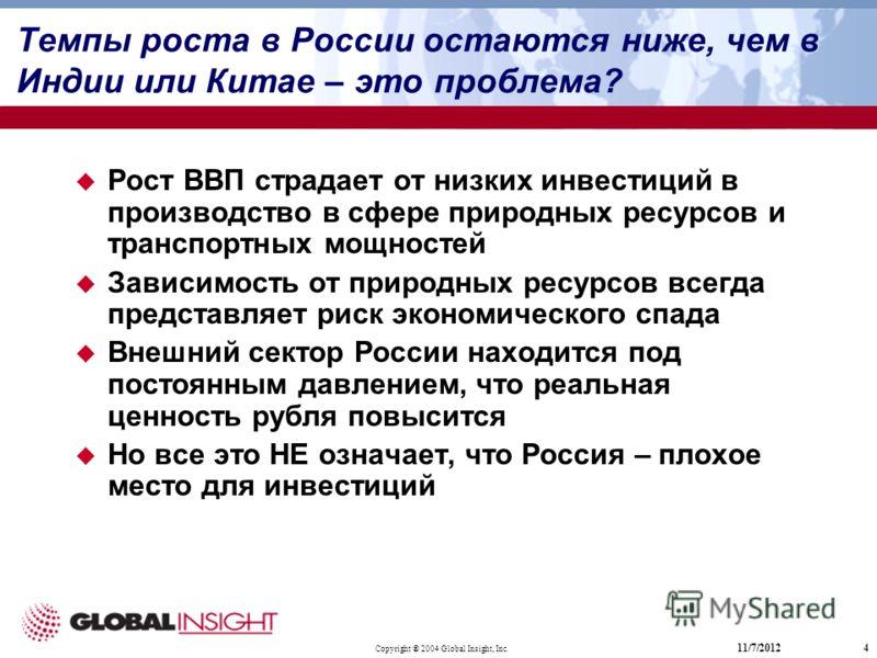Copyright ® 2004 Global Insight, Inc. 11/7/20124 Темпы роста в России остаются ниже, чем в Индии или Китае – это проблема? Рост ВВП страдает от низких инвестиций в производство в сфере природных ресурсов и транспортных мощностей Зависимость от природ