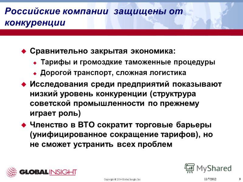 Copyright ® 2004 Global Insight, Inc. 11/7/20129 Российские компании защищены от конкуренции Сравнительно закрытая экономика: Taрифы и громоздкие таможенные процедуры Дорогой транспорт, сложная логистика Исследования среди предприятий показывают низк