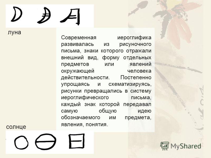 Современная иероглифика развивалась из рисуночного письма, знаки которого отражали внешний вид, форму отдельных предметов или явлений окружающей человека действительности. Постепенно упрощаясь и схематизируясь, рисунки превращались в систему иероглиф