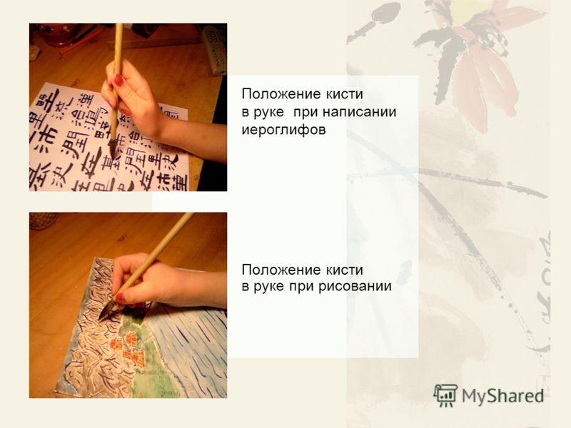 Положение кисти в руке при написании иероглифов Положение кисти в руке при рисовании