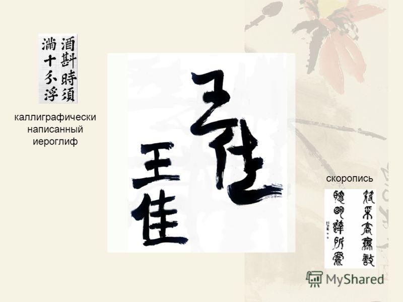 каллиграфически написанный иероглиф скоропись