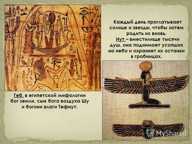 Геб, в египетской мифологии бог земли, сын бога воздуха Шу и богини влаги Тефнут. Каждый день проглатывает солнце и звезды, чтобы затем родить их вновь. Нут – вместилище тысячи душ, она поднимает усопших на небо и охраняет их останки в гробницах.