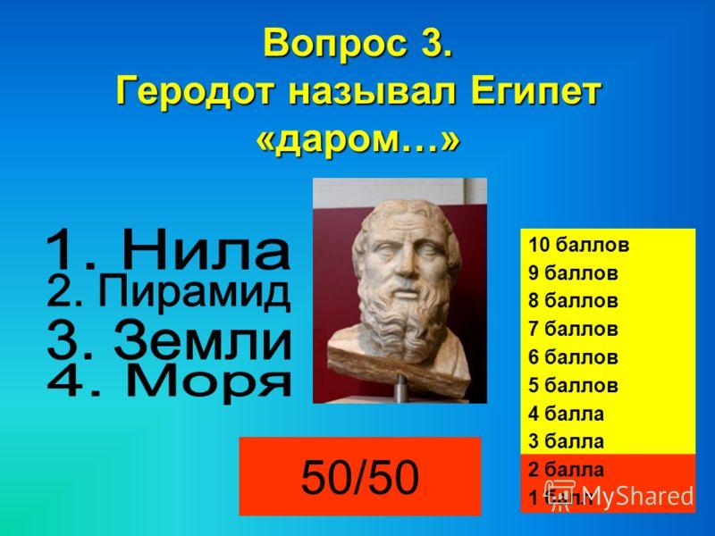 Вопрос 3. Геродот называл Египет «даром…» 50/50 10 баллов 9 баллов 8 баллов 7 баллов 6 баллов 5 баллов 4 балла 3 балла 2 балла 1 балл
