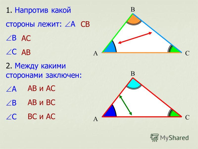 А 1. Напротив какой стороны лежит: А В С 2. Между какими сторонами заключен: А В С СВ АС АВ С В С В А АВ и АС АВ и ВС ВС и АС