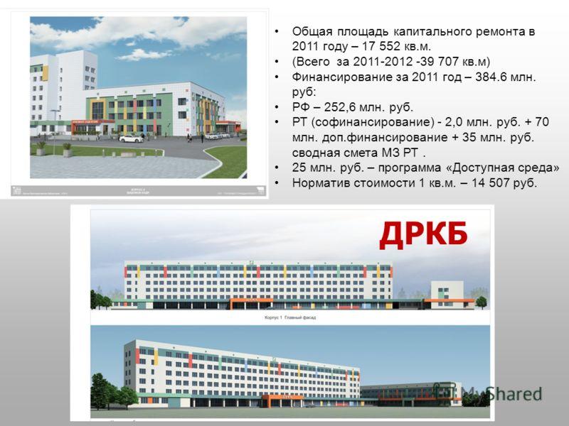 Общая площадь капитального ремонта в 2011 году – 17 552 кв.м. (Всего за 2011-2012 -39 707 кв.м) Финансирование за 2011 год – 384.6 млн. руб: РФ – 252,6 млн. руб. РТ (софинансирование) - 2,0 млн. руб. + 70 млн. доп.финансирование + 35 млн. руб. сводна