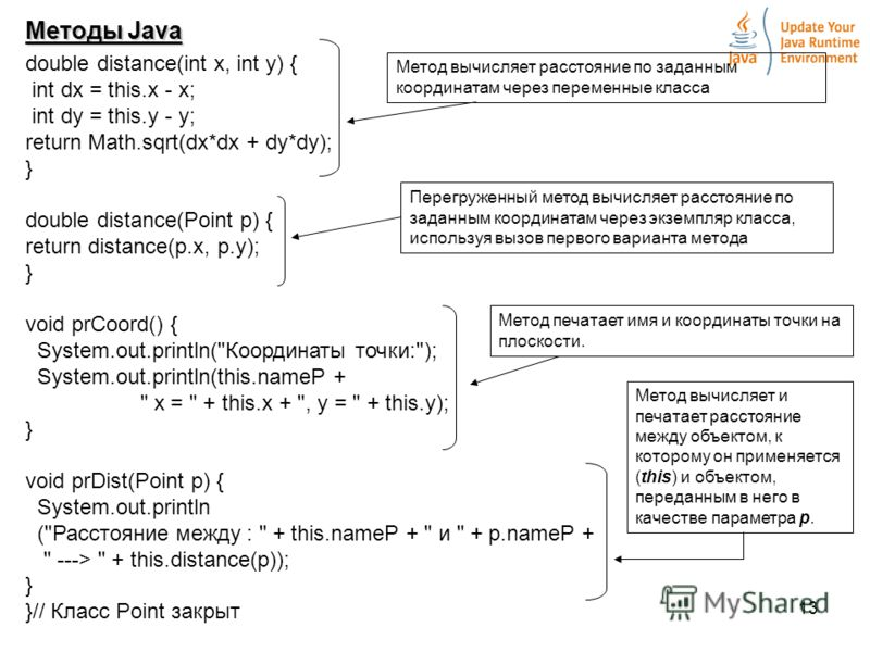 13 Методы Java double distance(int x, int y) { int dx = this.x - x; int dy = this.y - y; return Math.sqrt(dx*dx + dy*dy); } double distance(Point p) { return distance(p.x, p.y); } void prCoord() { System.out.println(