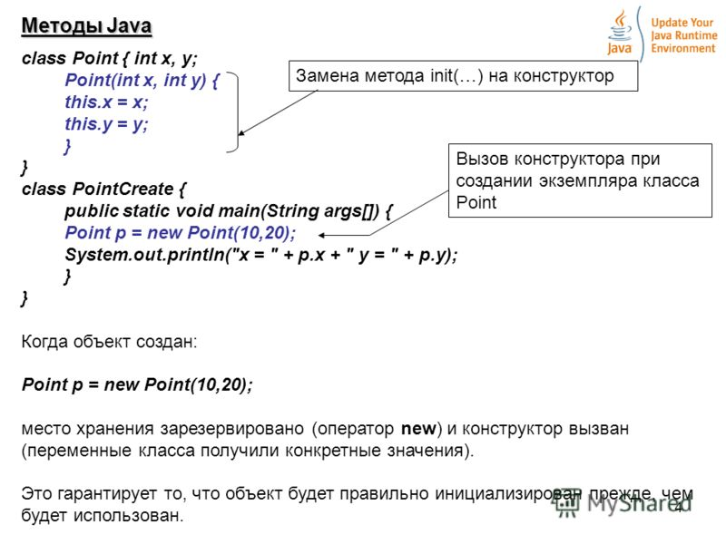 4 Методы Java class Point { int х, у; Point(int х, int у) { this.x = х; this.у = у; } class PointCreate { public static void main(String args[]) { Point p = new Point(10,20); System.out.println(