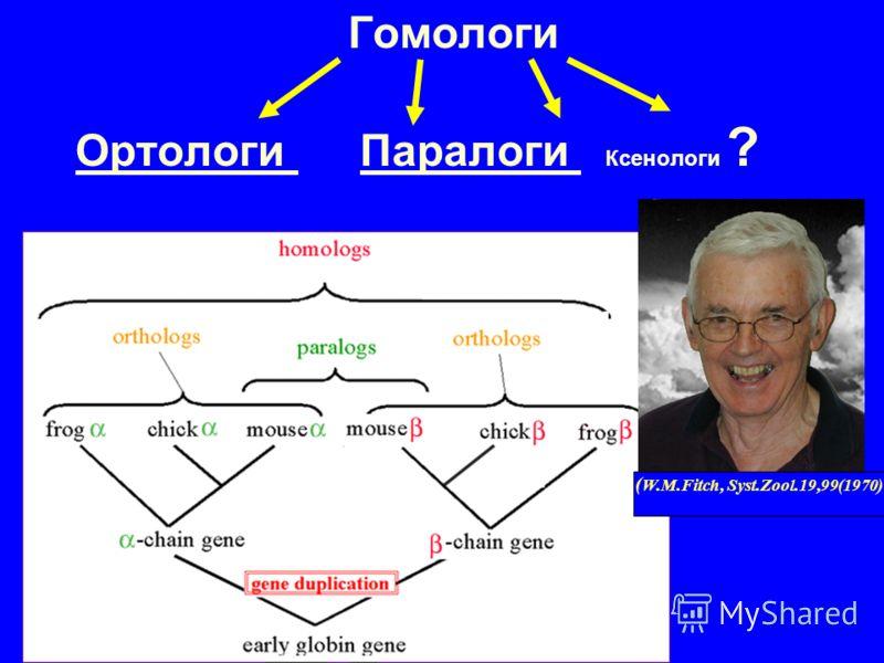 Гомологи Ортологи Паралоги Ксенологи ? ( W.M.Fitch, Syst.Zool.19,99(1970)