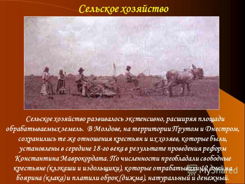 Сельское хозяйство развивалось экстенсивно, расширяя площади обрабатываемых земель. В Молдове, на территории Прутом и Днестром, сохранились те же отношения крестьян и их хозяев, которые были, установлены в середине 18-го века в результате проведения
