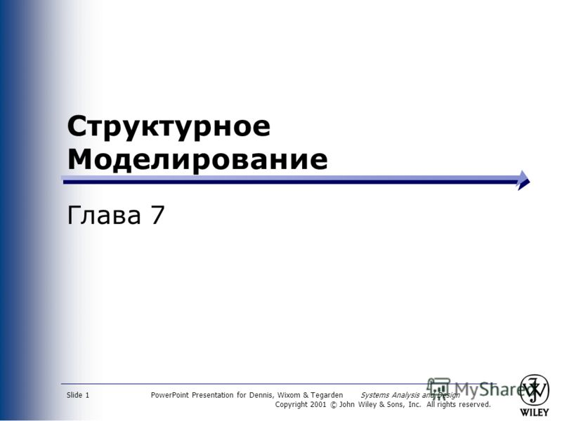 PowerPoint Presentation for Dennis, Wixom & Tegarden Systems Analysis and Design Copyright 2001 © John Wiley & Sons, Inc. All rights reserved. Slide 1 Структурное Моделирование Глава 7