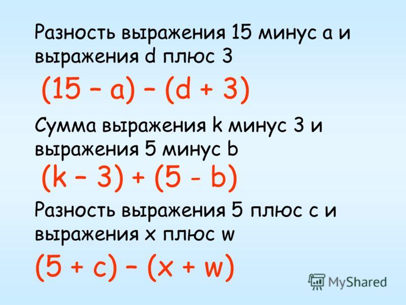 Разность выражения 15 минус а и выражения d плюс 3 Сумма выражения k минус 3 и выражения 5 минус b Разность выражения 5 плюс с и выражения х плюс w (15 – а) – (d + 3) (k – 3) + (5 - b) (5 + c) – (x + w)