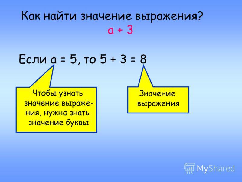 Как найти значение выражения? а + 3 Если а = 5, то 5 + 3 = 8 Чтобы узнать значение выраже- ния, нужно знать значение буквы Значение выражения