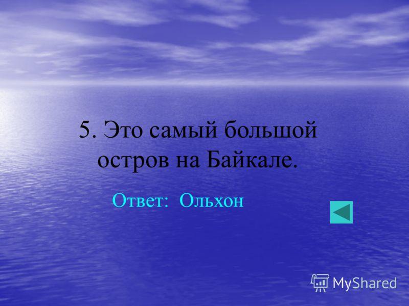 5. Это самый большой остров на Байкале. Ответ: Ольхон