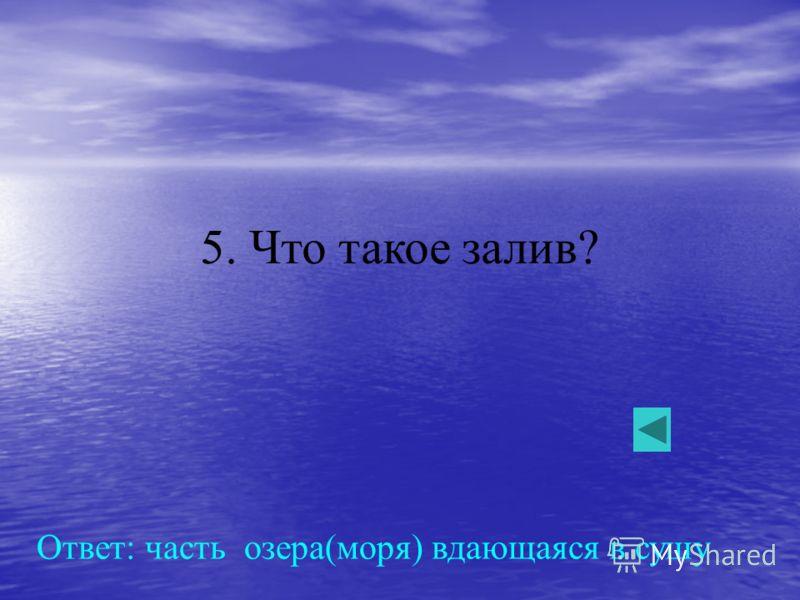 5. Что такое залив? Ответ: часть озера(моря) вдающаяся в сушу