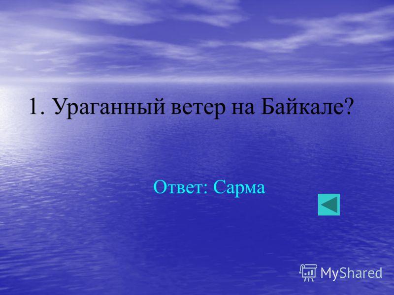 1. Ураганный ветер на Байкале? Ответ: Сарма