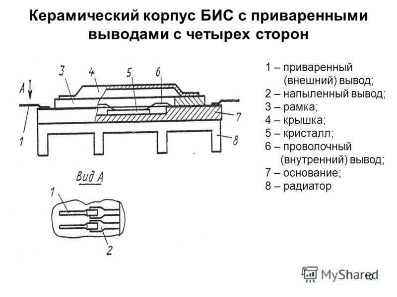 10 Керамический корпус БИС с приваренными выводами с четырех сторон 1 – приваренный (внешний) вывод; 2 – напыленный вывод; 3 – рамка; 4 – крышка; 5 – кристалл; 6 – проволочный (внутренний) вывод; 7 – основание; 8 – радиатор