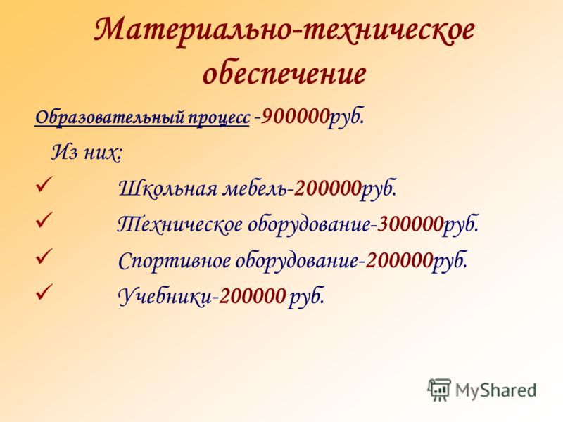 Материально-техническое обеспечение Образовательный процесс -900000руб. Из них: Школьная мебель-200000руб. Техническое оборудование-300000руб. Спортивное оборудование-200000руб. Учебники-200000 руб.