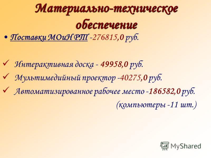 Материально-техническое обеспечение Поставки МОиН РТ -276815,0 руб. Интерактивная доска - 49958,0 руб. Мультимедийный проектор -40275,0 руб. Автоматизированное рабочее место -186582,0 руб. (компьютеры -11 шт.)