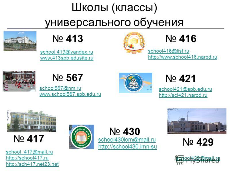 Школы (классы) универсального обучения 413 416 417 421 429 430 567 school.413@yandex.ru www.413spb.edusite.ru school416@list.ru http://www.school416.narod.ru school567@nm.ru www.school567.spb.edu.ru school430lom@mail.ru http://school430.lmn.su school