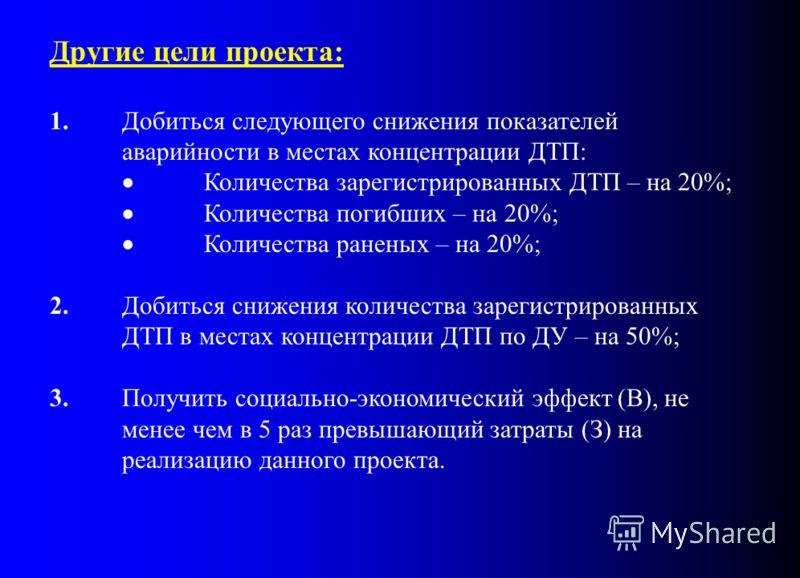 Другие цели проекта: 1.Добиться следующего снижения показателей аварийности в местах концентрации ДТП: Количества зарегистрированных ДТП – на 20%; Количества погибших – на 20%; Количества раненых – на 20%; 2.Добиться снижения количества зарегистриров
