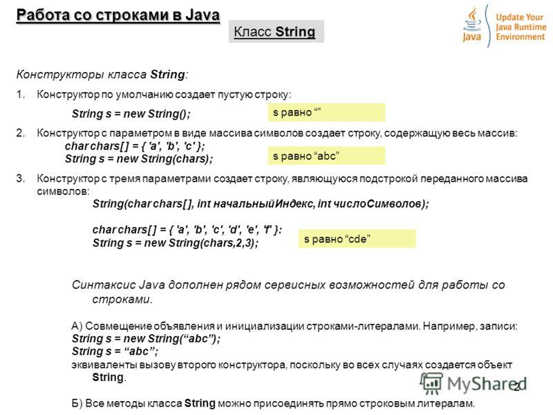 2 Работа со строками в Java Класс String Конструкторы класса String: 1.Конструктор по умолчанию создает пустую строку: String s = new String(); 2.Конструктор с параметром в виде массива символов создает строку, содержащую весь массив: char chars[ ] =