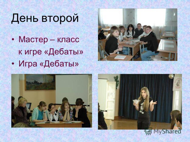 День второй Мастер – класс к игре «Дебаты» Игра «Дебаты»
