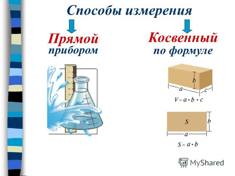 Способы измерения Прямой прибором Косвенный по формуле