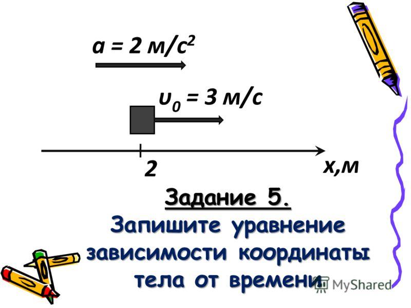 а = 2 м/с 2 υ 0 = 3 м/с 2 х,м Задание 5. Запишите уравнение зависимости координаты тела от времени