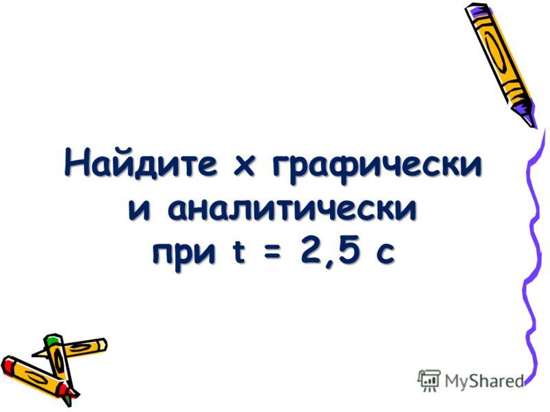 Найдите х графически и аналитически при t = 2,5 с