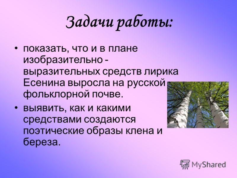 Задачи работы: показать, что и в плане изобразительно - выразительных средств лирика Есенина выросла на русской фольклорной почве. выявить, как и какими средствами создаются поэтические образы клена и береза.