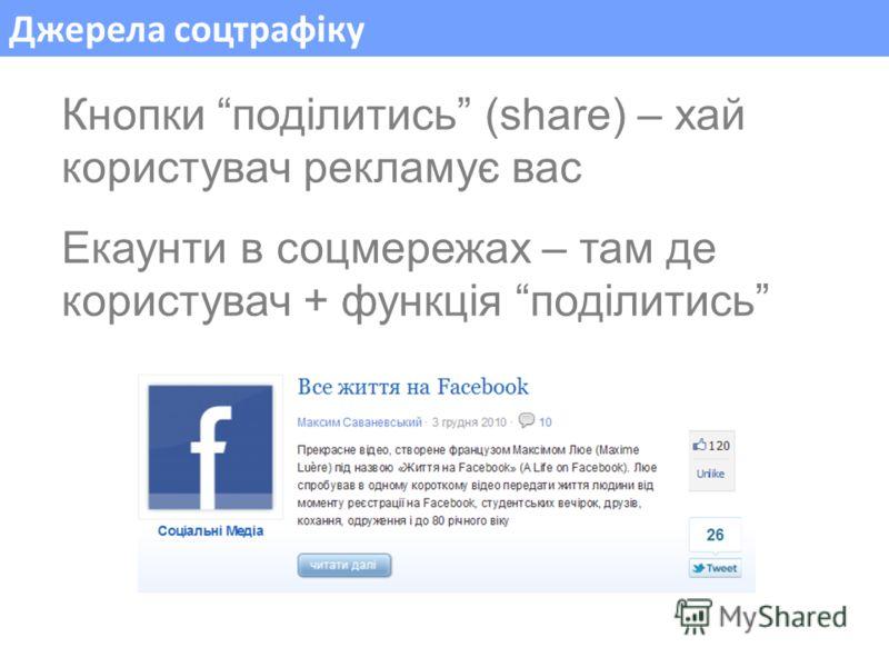 Джерела соцтрафіку Кнопки поділитись (share) – хай користувач рекламує вас Екаунти в соцмережах – там де користувач + функція поділитись