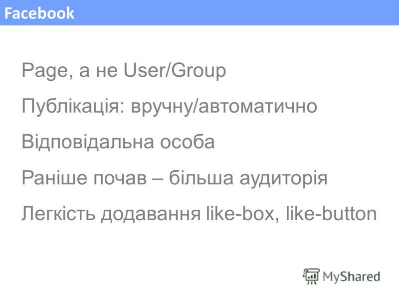 Facebook Page, а не User/Group Публікація: вручну/автоматично Відповідальна особа Раніше почав – більша аудиторія Легкість додавання like-box, like-button
