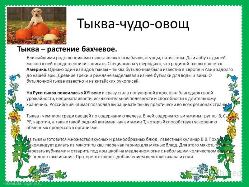 FokinaLida.75@mail.ru Тыква-чудо-овощ Тыква – растение бахчевое. Ближайшими родственниками тыквы являются кабачки, огурцы, патиссоны. Да и арбуз с дыней можно к ней в родственники записать. Специалисты утверждают, что родиной тыквы является Америка.