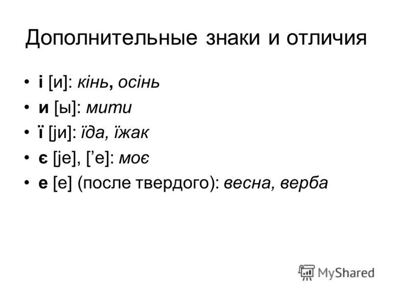 Дополнительные знаки и отличия i [и]: кiнь, осiнь и [ы]: мити ї [jи]: їда, їжак є [je], [е]: моє е [е] (после твердого): весна, верба