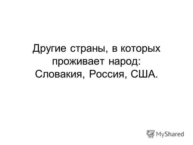 Другие страны, в которых проживает народ: Словакия, Россия, США.