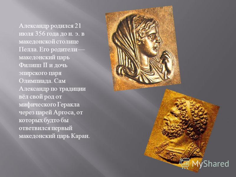 Александр родился 21 июля 356 года до н. э. в македонской столице Пелла. Его родители македонский царь Филипп II и дочь эпирского царя Олимпиада. Сам Александр по традиции вёл свой род от мифического Геракла через царей Аргоса, от которых будто бы от