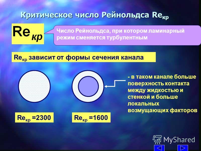 Критическое число Рейнольдса Re кр Число Рейнольдса, при котором ламинарный режим сменяется турбулентным Re кр зависит от формы сечения канала Re кр =2300Re кр =1600 - в таком канале больше поверхность контакта между жидкостью и стенкой и больше лока