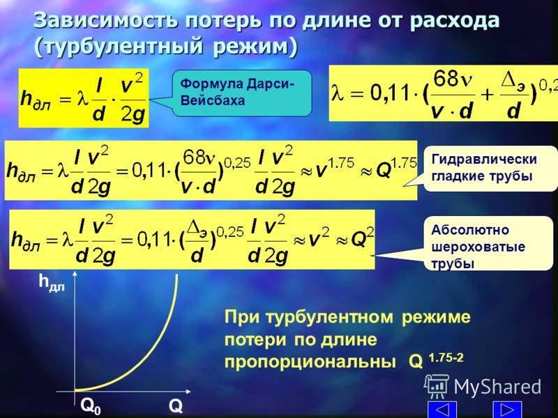 Формула Дарси- Вейсбаха Зависимость потерь по длине от расхода (турбулентный режим) h дл Q При турбулентном режиме потери по длине пропорциональны Q 1.75-2 Гидравлически гладкие трубы Абсолютно шероховатые трубы Q0Q0