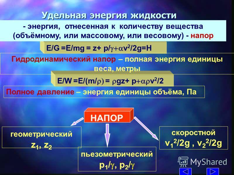 E/W =E/(m/ = gz+ p v 2 /2 Удельная энергия жидкости Полное давление – энергия единицы объёма, Па E/G =E/mg = z+ p/ v 2 /2g=H - энергия, отнесенная к количеству вещества (объёмному, или массовому, или весовому) - напор Гидродинамический напор – полная